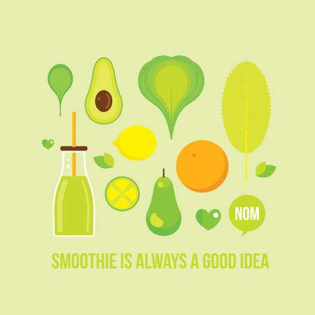 kale: Vegetables Fruits Greens Bottle with smoothie juice Healthy food concept Vector illustration Illustration