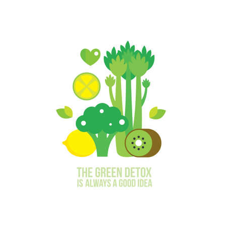 Celery Kiwi Broccoli Lemon Lime Healthy and delicious green food Çizim