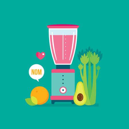 Blender Celery Orange Avocado and Celery Healthy food background