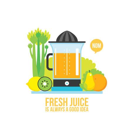 Juicer Fresh vegetables greens and fruits on white background Vector illustration Illustration
