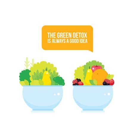 Fresh vegetables greens fruits berries bowl colorful background Vector illustration