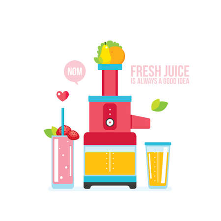 Mixer Juice Fresh fruits and vegetables Kitchen appliance background Vector illustration