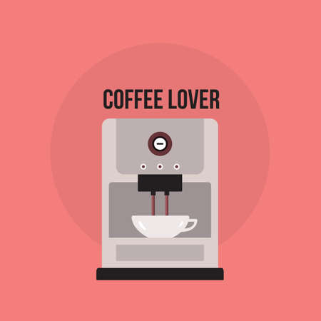 Coffee maker Cute banner with Kitchen appliance Vector illustration Illustration