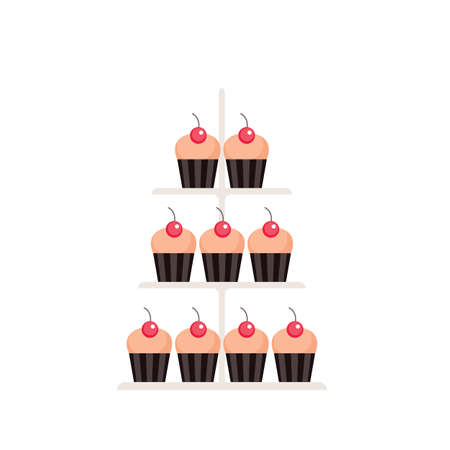 Sweet dessert Delicious cute cupcakes set isolated on white background Vector illustration