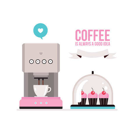 cupcake illustration: Coffee machine and delicious muffins on tray on white background Vector illustration Illustration