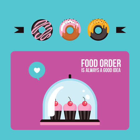 Cupcakes and donuts Colorful banner Delicious sweet dessert Vector illustration Illustration