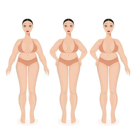 Overweight woman feeling uncomfortable wearing underwear Obesity concept Vector Illustration Illustration