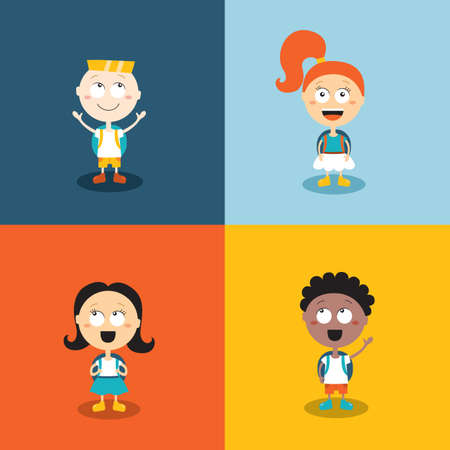 Cute kids ready go back to school. Cartoon characters set. Vector illustration Ilustração Vetorial