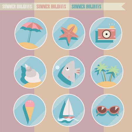 Set of summer elements. Summer holidays concept.