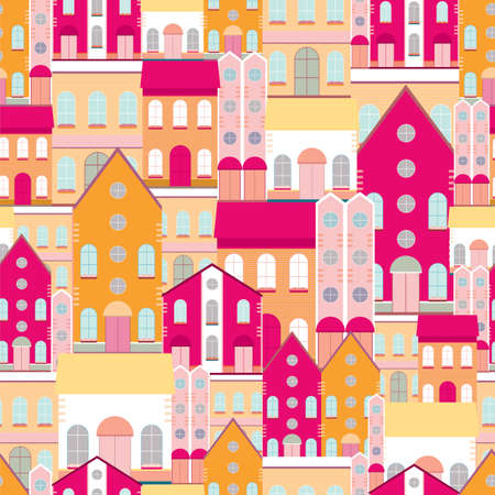 House buildings, home seamless background pattern. Colorful wrapping paper, postcard, banner design template. Vector illustration.