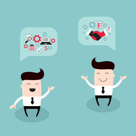 Happy businessman talking about partnership and strategy. Business success concept. Vector illustration Vettoriali