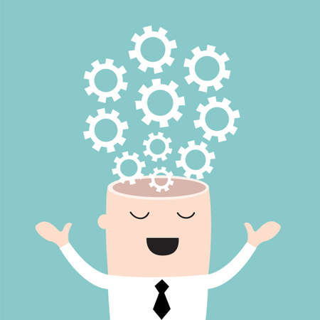 Businessman head with the gears. Brain storming, successful business idea concept. Vector illustration