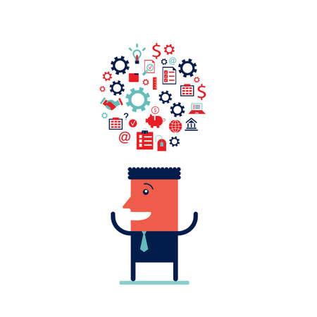 Businessman processing information Successful business idea concept Vector illustration