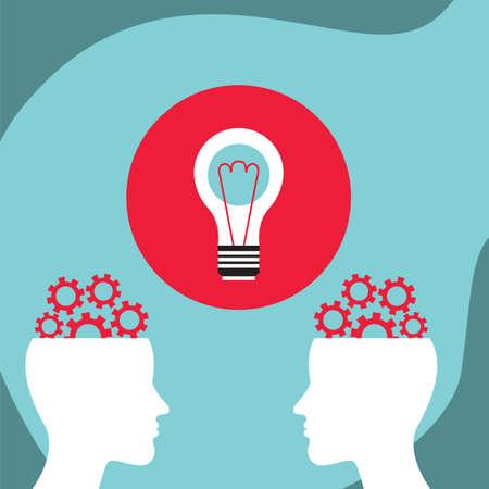 Business man communication, conversation. Bright ideas concept. Vector illustration