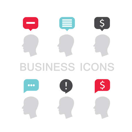 Set of business icons with businessman head profile and speech bubble. Vector illustration Vettoriali
