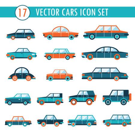 17 cars icon set. Transportation elements Vector illustration