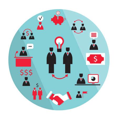 Flat design business elements. Partnership, money earning success concept. Vector illustration