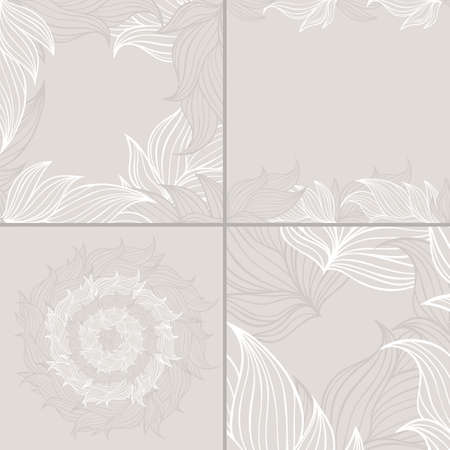 Set of four seamless floral background patterns of neutral colors.Nature theme,leaves,branches,hand-drawn abstract elements.Template for textile,paper,greeting card,postcard design,wallpaper. 向量圖像
