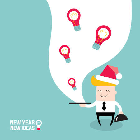 Happy businessman wearing Santa Claus hat and serve ideas on the plate. New Year - New Ideas. Merry Christmas, business people Business success and profit concept. Vector illustration