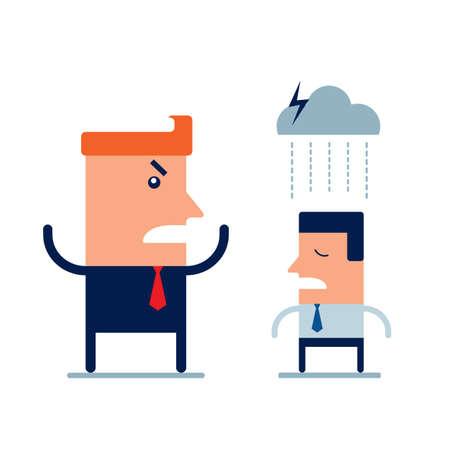 Wütender Chef, der seinen Mitarbeiter anschreit Frist und Arbeitsbeziehungen Geschäftskonzept