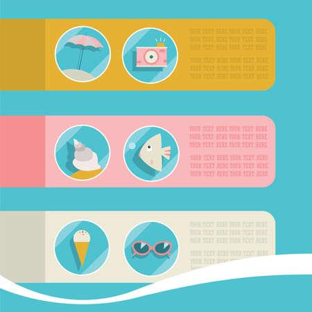 Set of summer elements. Summer holidays concept