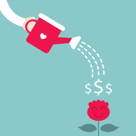 Man watering the dollar plant. Growing money tree, business success concept. Vector illustration.