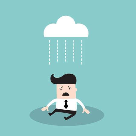 Businessman under brainstorming concept. Depressed business man walking down the rain. Vector illustration Illustration