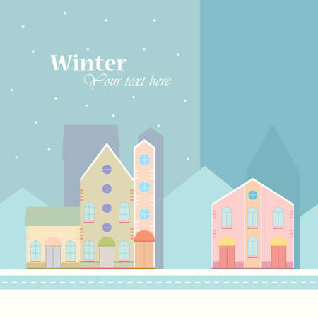 Winter background.House buildings, home, street view in small city, town with road in winter time, snowing.Colorful postcard, banner design template. Vector illustration.