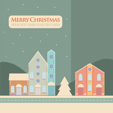 Christmas, New Year greeting card with street view with lovely houses in small town.Winter season, snowing,theme..Banner,postcard,sticker,poster design template.Vector illustration