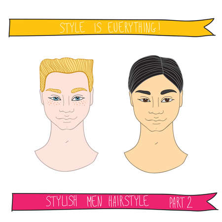 Handsome man stylish hairstyle. Fashion theme, beauty and hair salon, beautiful cartoon characters. Vector illustration
