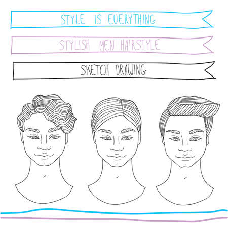 Handsome young man hairstyle. Fashion, beauty,theme. Hand drawn sketch style. Vector illustration