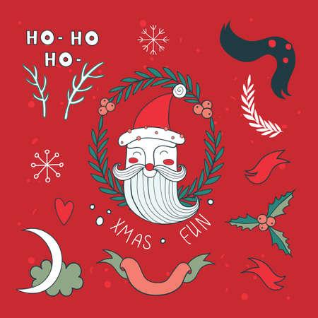 Christmas hand drawn design elements set with Santa Claus Vector illustration