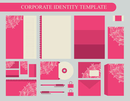 Pink corporate identity design template with beige elements. Business kit. Vector illustration 矢量图像