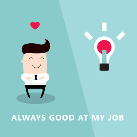 Happy and proud businessman who loves his job. Successful business concept. Vector illustration