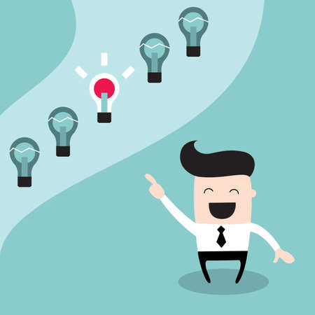 Happy businessman choosing the bright idea. Successful business concept, make right decisions. Vector illustration