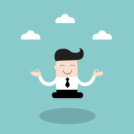 Businessman meditating in the sky. Keep calm, make right decisions and be successful in your business concept. Vector illustration 矢量图像