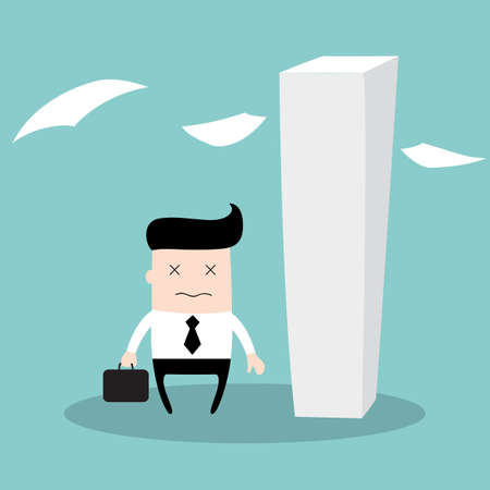 Tired businessman having a lot of work to do, looks like a zombie, really tired. Hard worker business concept. Vector illustration 矢量图像