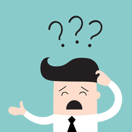Business man scratches his head in indecision on a question mark. Business concept. Vector illustration