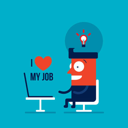 Happy Businessman working on laptop Successful business concept Vector illustration