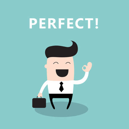 Happy businessman showing OK hand sign. Successful business concept. Vector illustration
