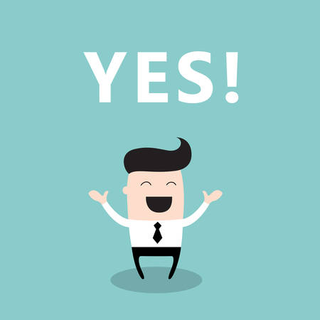 Happy businessman with the word Yes. Business concept. Vector illustration. 矢量图像