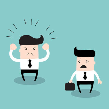 Angry boss screaming at his employee. Business concept, businessman work and relationships. Vector illustration