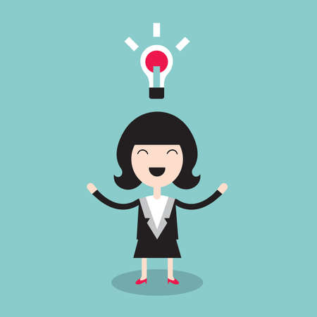 Happy businesswoman with idea. Successful business concept. Vector illustration 矢量图像
