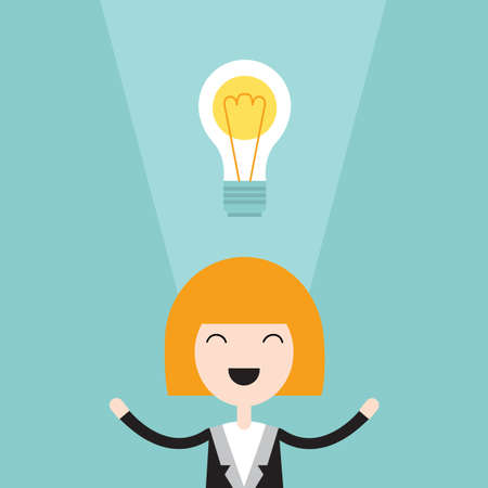Happy business woman with bright idea. Successful business concept. Vector illustration