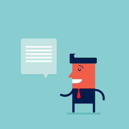 Happy businessman with speech bubble Successful business concept