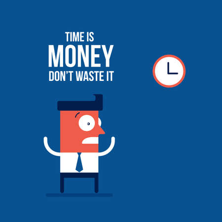 Time is money concept Businessman and the clocks Vector illustration