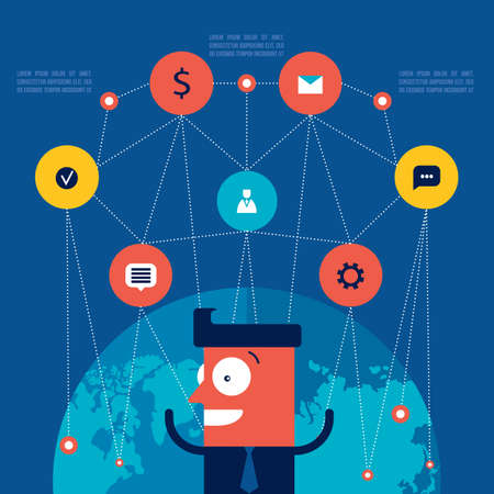Happy excited businessman with icons Business and global communication concept Vector illustration