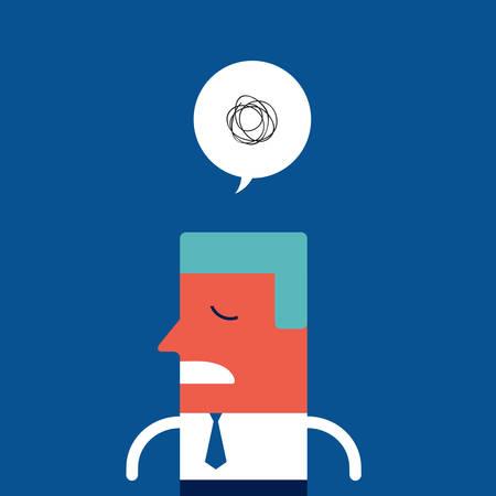Stressed upset sad businessman feeling tired and broken Vector illustration
