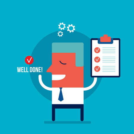 Happy excited businessman with check list Business success concept Vector illustration