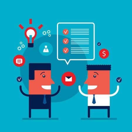 Happy businessmen talking Partnership teamwork business success Vector illustration 矢量图像